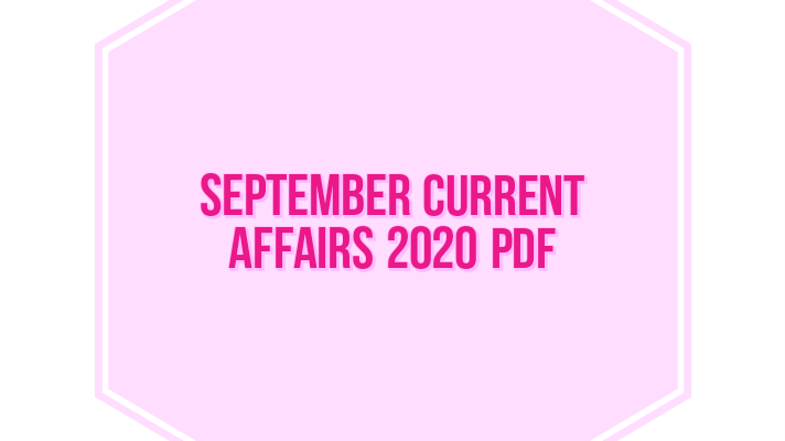 september current Affairs 2020 pdf