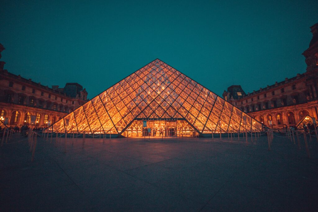 The Louvre Museum during night,Louvre museum facts.